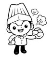 black and white an angry chef mascot have a fit vector image
