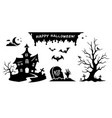 black silhouettes elements for halloween vector image