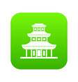 buddhist temple icon digital green vector image vector image