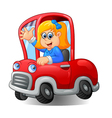 Cartoon happy girl driving a car vector image
