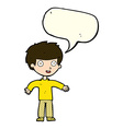 cartoon happy man with speech bubble vector image