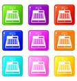 cash register icons 9 set vector image vector image
