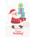 christmas greeting card with santa claus and gifts vector image vector image