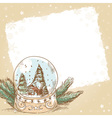 Christmas hand drawn postcard with cute glass ball vector image
