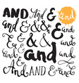 Collection of hand painted ampersands vector image vector image