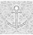 coloring page with anchor in waves entangle vector image vector image
