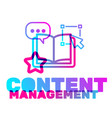 content management text with icon concept vector image