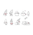 cute cartoon gnomes new year set christmas elves vector image vector image
