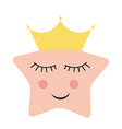 cute princess star in gold crown vector image vector image