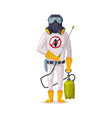 exterminator wearing protection uniform and gas vector image vector image
