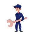 flat young mechanic boy with wrench vector image vector image