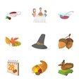 Gratitude celebration icons set cartoon style vector image vector image