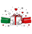 hands giving christmas present vector image vector image