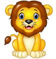 Happy cartoon lion sitting isolated vector image vector image