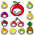 happy fruits faces vector image