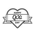 happy qi xi day greeting emblem vector image vector image