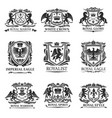 heraldic eagles lions crowns royal heraldry vector image vector image
