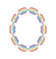 Letter O made in rainbow colors vector image