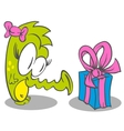 Little Dragon With Gift vector image vector image