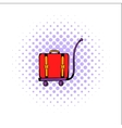 Luggage on trolley comics icon vector image