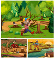 lumber jacks working in the forest vector image vector image
