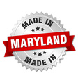 made in Maryland silver badge with red ribbon vector image vector image