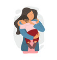 mom hugs her child flat vector image vector image