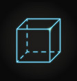 neon geometric cube icon in line style vector image