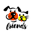 petshop logo isolated cat and dog friend vector image