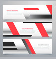 red business horizontal banners set with vector image vector image
