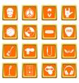 rock music icons set orange vector image vector image