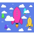 Rockets and white clouds icon in flat style vector image vector image