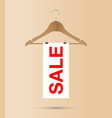 sale sign on a wooden hanger vector image
