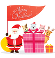Santa Claus Animals And Gift Box vector image