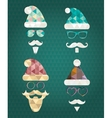 Santa Claus Silhouette Icons with Triangle vector image