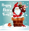 santa with gift bag on roof vector image vector image