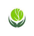 save nature herbal green leaves forest logo icon vector image vector image