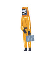 scientist in radiation protective suit and helmet vector image vector image