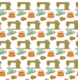 Seamless pattern of sewing tools icons on white vector image vector image