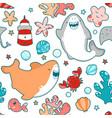 seamless pattern smiling sharks greet kawai emoji vector image vector image