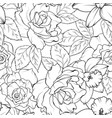 seamless pattern with roses and daffodils black vector image