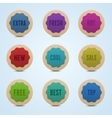 set 9 high detailed rounded stickers vector image