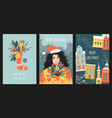 set cards or banners for christmas vector image vector image