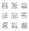 Thin line style cafe and bungalows icons vector image vector image