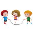 three kids playing jump rope vector image