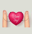 two fingers holding red heart love vector image vector image