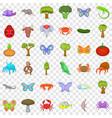 wildlife icons set cartoon style vector image vector image