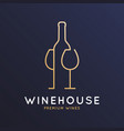 wine logo with wine bottle and wineglass vector image vector image