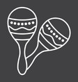 mexican maracas line icon music and instrument vector image
