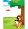 A lion reading under the tree vector image vector image